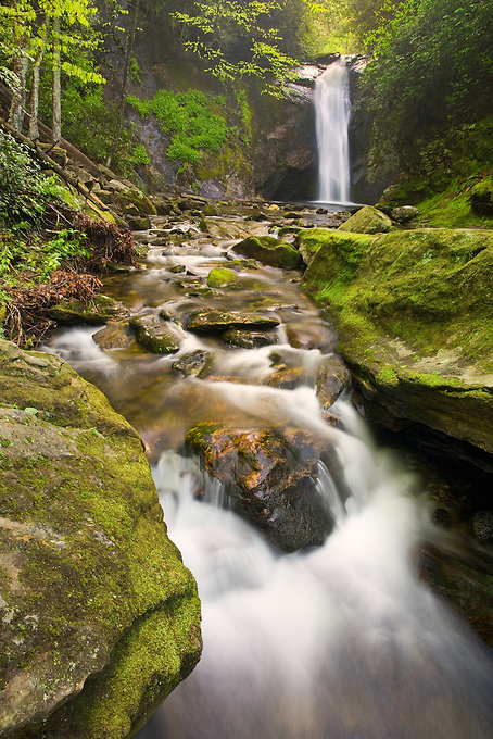"""""""COURTHOUSE FALLS"""" -- Located in western North Carolina along Courthouse Creek near the Blue Ridge Parkway. Photogrpahed in the spring when water levels were high in the southern Appalachian mountains."""