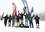 FRANCONIA, NH - MARCH 10:  All-Americans celebrate after the the Men's Slalom event at the Division I Men's and Women's Skiing Championships held at Cannon Mountain on March 10, 2017 in Franconia, New Hampshire. Pictured are (L to R) Max Luukko of the University of Colorado, Max Roeisland of the University of Vermont, Tanguy Nef of Dartmouth, Erik Read of the University of Denver, the winner David Ketterer of the University of Colorado, William St. Germain of the University of Vermont, Thomas Woolson of Dartmouth, and Endre Bjertness of the University of Utah.  (Photo by Gil Talbot/NCAA Photos via Getty Images)