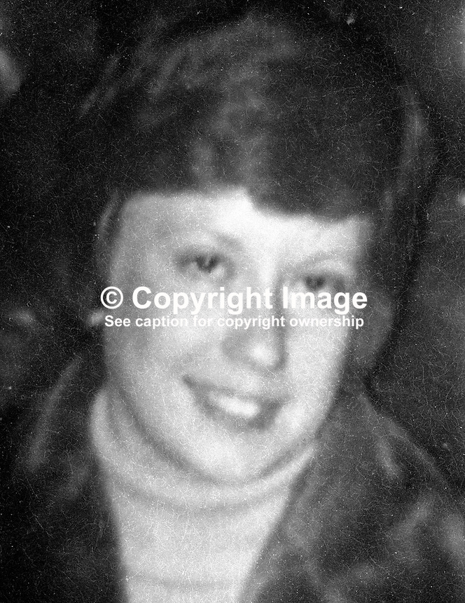 Doris Gillespie, double killing victim in Holywood, Co Down, N Ireland, 4th January 1975. See also Commander Ronald Kerans. 19750104005DG.<br /> <br /> Copyright Image from Victor Patterson, 54 Dorchester Park, Belfast, UK, BT9 6RJ<br /> <br /> t1: +44 28 9066 1296<br /> t2: +44 28 9002 2446<br /> m: +44 7802 353836<br /> <br /> e1: victorpatterson@me.com<br /> e2: victorpatterson@gmail.com<br /> <br /> www.victorpatterson.com<br /> <br /> IMPORTANT: Please see my Terms and Conditions of Use at www.victorpatterson.com