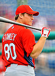 7 March 2012: St. Louis Cardinals catcher Cody Stanley awaits his turn in the batting cage prior to a game against the Washington Nationals at Space Coast Stadium in Viera, Florida. The teams battled to a 3-3 tie in Grapefruit League Spring Training action. Mandatory Credit: Ed Wolfstein Photo