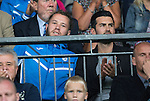 St Johnstone v FC Spartak Trnava...31.07.14  Europa League 3rd Round Qualifier<br /> An injured Stevie May watches from the stands<br /> Picture by Graeme Hart.<br /> Copyright Perthshire Picture Agency<br /> Tel: 01738 623350  Mobile: 07990 594431