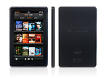 Amazon Kindle Fire tablet computer e-book reader front rear and side view isolated on white background with clipping path
