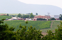 Vineyard. Winery building. Kir-Yianni Winery, Yianakohori, Naoussa, Macedonia, Greece