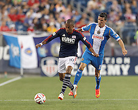 Foxborough, Massachusetts - June 28, 2014:  In a Major League Soccer (MLS) match, Philadelphia Union (blue/white) defeated the New England Revolution (dark blue/white), 3-1, at Gillette Stadium.