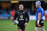 Jonathan Joseph of Bath Rugby looks on during the pre-match warm-up. European Rugby Champions Cup match, between Bath Rugby and RC Toulon on January 23, 2016 at the Recreation Ground in Bath, England. Photo by: Patrick Khachfe / Onside Images