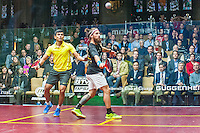 Saurav Ghosal (IND) vs.  Peter Creed (WAL) in the frst round of the 2014 METROsquash Windy City Open held at the University Club of Chicago in Chicago, IL on February 27, 2014