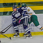 14 February 2015: University of New Hampshire Wildcat Defender Caroline Broderick, a Senior from Marblehead, MA, in third period action against the University of Vermont Catamounts at Gutterson Fieldhouse in Burlington, Vermont. The Ladies played to a 3-3 tie in their final meeting of the NCAA Hockey East season. Mandatory Credit: Ed Wolfstein Photo *** RAW (NEF) Image File Available ***