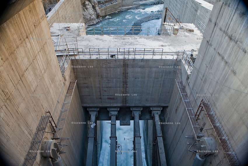 The Chamera III dam gate is opened to let water out of the newly-built NHPC hydroelectric dam, built on the River Ravi in Chamba valley, Himachal Pradesh, India, on 22nd March, 2012. Photo by Suzanne Lee/CapaPictures for ALSTOM Hydro