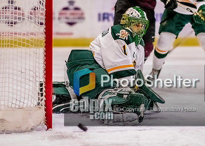 18 December 2016: University of Vermont Catamount Goaltender Mike Santaguida, a Senior from Mississauga, Ontario, makes a second period skate save against the Union College Dutchmen at Gutterson Fieldhouse in Burlington, Vermont. The Catamounts fell to their former ECAC hockey rivals 2-1, as the Dutchmen sweep the two-game weekend series. Mandatory Credit: Ed Wolfstein Photo *** RAW (NEF) Image File Available ***