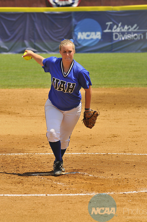 30 MAY 2011: Christina Boczek (20) of the University of Alabama-Huntsville hurls the ball toward a University of California San Diego batter during the Division II Women's Softball Championship held at the James I. Moyer Sports Complex in Salem, VA. UC San Diego defeated Alabama-Huntsville 10-3 to win the national title.  Andres Alonso/ NCAA Photos