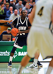 29 January 2012: University of New Hampshire Wildcat forward Patrick Konan, a Sophomore from Gainesville, FL, in action against the University of Vermont Catamounts at Patrick Gymnasium in Burlington, Vermont. The Catamounts defeated the Wildcats 77-60 in America East play. Mandatory Credit: Ed Wolfstein Photo