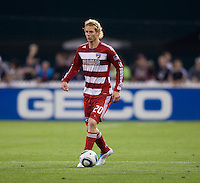 Brek Shea (20) of FC Dallas brings the ball upfield during the game at RFK Stadium in Washington, DC.  D.C. United tied FC Dallas, 0-0.