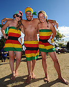 19.02.2015. Nelson, New Zealand.  Fans in fancy dress during the 2015 ICC Cricket World Cup match between Zimbabwe and United Arab Emirates. Saxton Oval, Nelson, New Zealand.