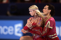 Elena Grushinia and Rusian Goncharov of Russia dance on way to winning gold in ice dancing at the Trophee Eric Bompard competition in Paris, France, November 19, 2005.  Grushina and Goncharov are favorites in ice dancing before the Torina 2006 Olympics.  (Photo/Tom Theobald)
