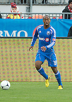 20 October 2012: Montreal Impact midfielder Collen Warner #18 in action during an MLS game between the Montreal Impact and Toronto FC at BMO Field in Toronto, Ontario..The game ended in a 0-0 draw..