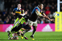 Kyle Sinckler of Harlequins offloads the ball. Aviva Premiership match, between Harlequins and Sale Sharks on January 7, 2017 at the Twickenham Stoop in London, England. Photo by: Patrick Khachfe / JMP