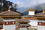 Asia, Bhutan, Thimpu. Druk Wangyal Khangzang Chorten at Dochu La pass.