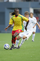 Ricky Charles (9) tries to maintain controls ahead of Logan Pause (8). USA defeated Grenada 4-0 during the First Round of the 2009 CONCACAF Gold Cup at Qwest Field in Seattle, Washington on July 4, 2009.