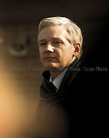Julian Assange - 2011<br /> <br /> London, 24/02/2011. At Belmarsh Magistrates Court (south London), Julian Assange faced his trial to be extradited to Sweden where the Wikileaks founder has to respond to three allegations of sexual assault and one of rape. District Judge Howard Riddle said the extradition would not breach Mr Assange's human rights. Assange was accompanied by his lawyer Mark Stephens and Jemima Khan (British writer and campaigner, Associate Editor of the New Statesman and European editor-at-large for Vanity Fair). In the meanwhile, outside the court people gathered in support and solidarity with Julian Assange.