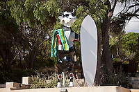 Surfer's Point, Margaret River, Western Australia (Tuesday, March 16, 2010) The 6 Star Prime Drug Aware Pro at Margaret River continued today with the Round of 48 Women.  The Cow Parade is the world's most famous public art event. Over 100 talented artists have transformed more than 80 life size 3D cow canvases into works of art. They are to be found 'grazing' at iconic attractions and public spaces through out the Margaret River area. Photo: joliphotos.com