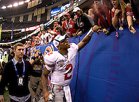 Terrelle Pryor of Ohio State slaps hands with the fans after winning the game against Arkansas during 77th Annual Allstate Sugar Bowl Classic at Louisiana Superdome in New Orleans, Louisiana on January 4th, 2011.  Ohio State defeated Arkansas, 31-26.