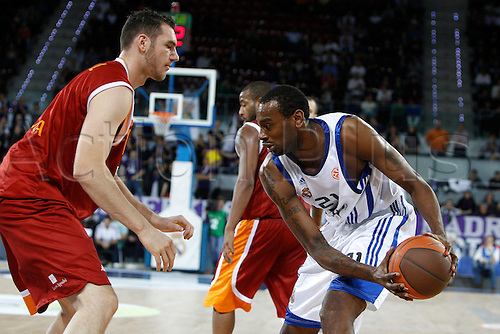 Euroleague 2010-2011, game 8 regular season, group B, Real Madrid v Lottomatica Roma, 9.12.2010. , Game 8 Regular Season Group B. Picture shows (left) Vladimir Dasic and (right) Josh Fischer. ......