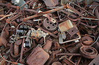 Junk Pile of Rusty Old Metal, Gears and Various Machine and Electrical Parts