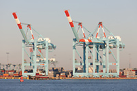 Container cranes at the A.P. Moller-Maersk facility in the Port Newark-Elizabeth Marine Terminal in Newark Bay.
