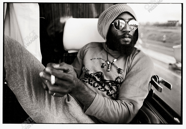 "Bob Marley and The Wailers on thier tour bus during their Exodus Tour in Europe. Pictured here, Road Manager Tony ""Gilly"" GIlbert.  May 11, 1977."