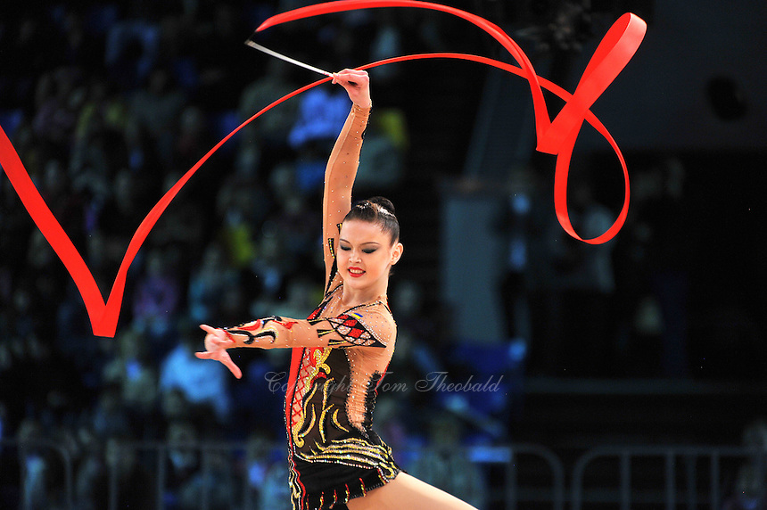 """ALINA MAKSYMENKO  of Ukraine performs with ball to win Event Final at 2011 World Cup Kiev, """"Deriugina Cup"""" in Kiev, Ukraine on May 8, 2011."""
