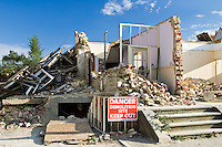 Construction site of demolished residential house, Cirencester, Gloucestershire, UK
