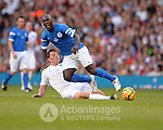 Football-England v Rest of the World-Socceraid-Old Trafford-08/06/2014-Pictures by Paul Currie-KEEP-Rest of the World's Clarence Seedorf Tackles England's Ben Shepard during Socceraid held at Old Trafford Manchester
