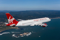 aerial photograph of N628VA, Virgin America Airlines Airbus A320-214, San Mateo county Pacific coastline, California