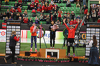 SPEED SKATING: HAMAR: Vikingskipet, 04-03-2017, ISU World Championship Allround, Podium 500m Ladies, Ireen Wüst (NED), Miho Takagi (JPN), Ida Njåtun (NOR), ©photo Martin de Jong
