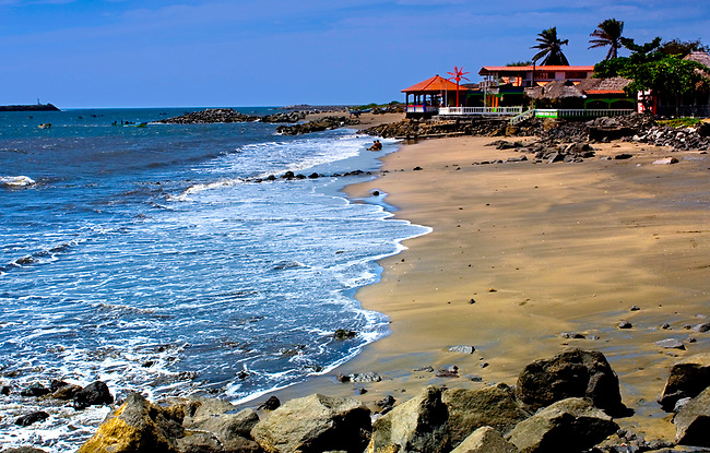Pacific Ocean rolls onto the sandy beaches of the El Cornito, a port town in northwestern Nicaragua.
