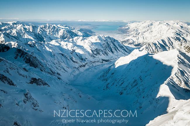 View from Harper Saddle across Hooker Glacier towards Lake Pukaki visible in background, Westland National Park, West Coast, World Heritage Area, New Zealand
