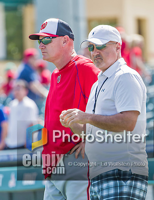 10 March 2015: Washington Nationals General Manager & President of Baseball Operations Mike Rizzo (right) watches batting practice with manager Matt Williams prior to a Spring Training game against the Miami Marlins at Roger Dean Stadium in Jupiter, Florida. The Marlins edged out the Nationals 2-1 on a walk-off solo home run in the 9th inning of Grapefruit League play. Mandatory Credit: Ed Wolfstein Photo *** RAW (NEF) Image File Available ***