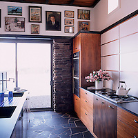 The walnut cabinets in the kitchen area are of Ludick's own design