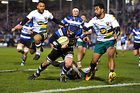 Paul Grant of Bath Rugby dives for the try-line during the first half. Aviva Premiership match, between Bath Rugby and Northampton Saints on February 10, 2017 at the Recreation Ground in Bath, England. Photo by: Patrick Khachfe / Onside Images