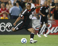 Julius James #2  of D.C. United during an international friendly match against A.C. Milan at RFK Stadium, on May 26 2010 in Washington DC. United won 3-2.