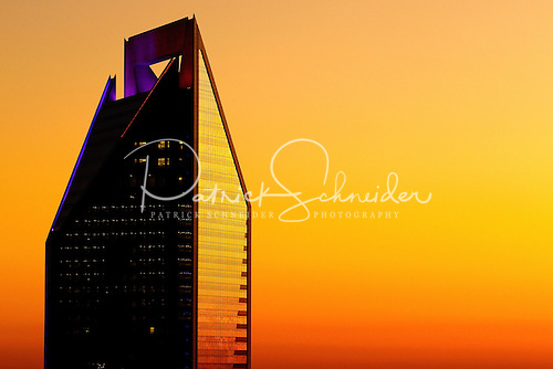 Photo of Duke Energy Tower in Charlotte NC at sunset.