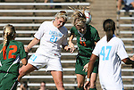 02 November 2008: North Carolina's Allie Long (21) and Miami's Danielle Bigedain (11) challenge for a header. The University of North Carolina Tar Heels defeated the University of Miami Hurricanes 1-0 at Fetzer Field in Chapel Hill, North Carolina in an NCAA Division I Women's college soccer game.