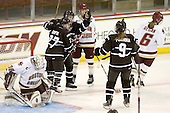 Laurie Jolin (Brown - 28) celebrates her goal with Kelly Griffin (Brown - 27) and Alena Polenska (Brown - 9) - The Boston College Eagles defeated the visiting Brown University Bears 5-2 on Sunday, October 24, 2010, at Conte Forum in Chestnut Hill, Massachusetts.