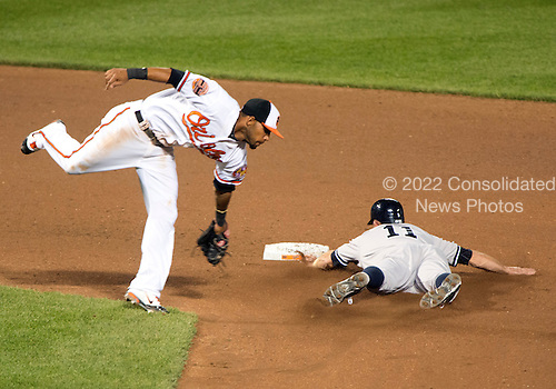 New York Yankees left fielder Brett Gardner (11) steals second base in the seventh inning against the Baltimore Orioles at Oriole Park at Camden Yards in Baltimore, MD on Monday, April 9, 2012.  The Yankees won the game  6 - 2..Credit: Ron Sachs / CNP.(RESTRICTION: NO New York or New Jersey Newspapers or newspapers within a 75 mile radius of New York City)