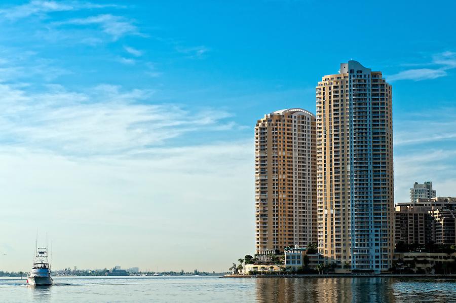 View of condominium apartments in Miami, Brickell Key looking Biscayne Bay