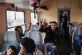 Flüchtlinge im Zug richtung Westen warten auf den Abfahrt