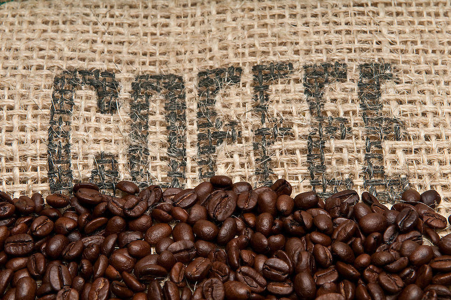 Coffee Beans and Burlap Background