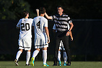 26 August 2016: Wake Forest head coach Bobby Muuss (right) with Hunter Bandy (20) and Kevin Politz (4). The Wake Forest University Demon Deacons hosted the Saint Louis University Billikens in a 2016 NCAA Division I Men's Soccer match. SLU won the game 1-0.