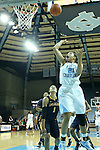 24 November 2012: North Carolina's Krista Gross (21) shoots over La Salle's Brittany Wilson (1). The University of North Carolina Tar Heels played the La Salle University Explorers at Carmichael Arena in Chapel Hill, North Carolina in an NCAA Division I Women's Basketball game. UNC won the game 85-55.