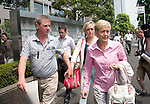 Nicola Furlong's father Andrew, sister, Andrea and mother Angela leave the Tokyo Family Court in Tokyo, Japan on 27 July, 2012. Photographer: Robert Gilhooly